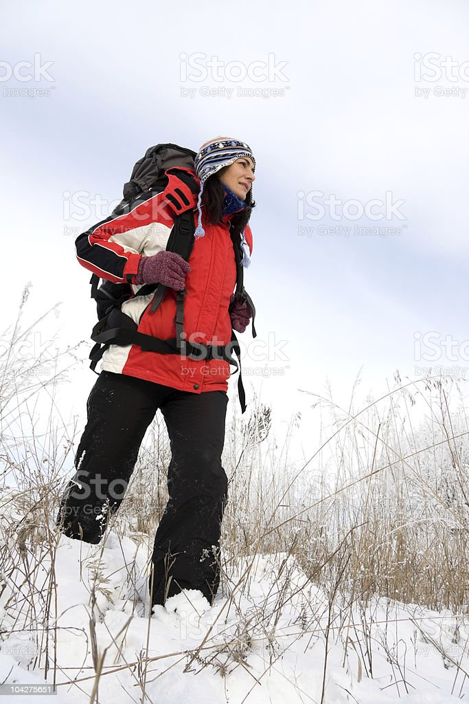 Hiker on the snow royalty-free stock photo