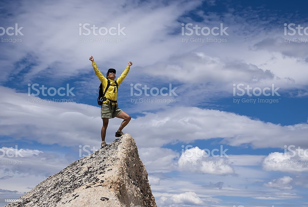 Hiker on the summit. stock photo