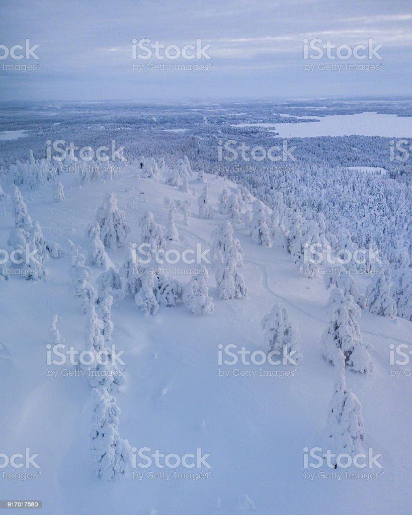 Wanderer auf dem Hügel in Lappland – Foto