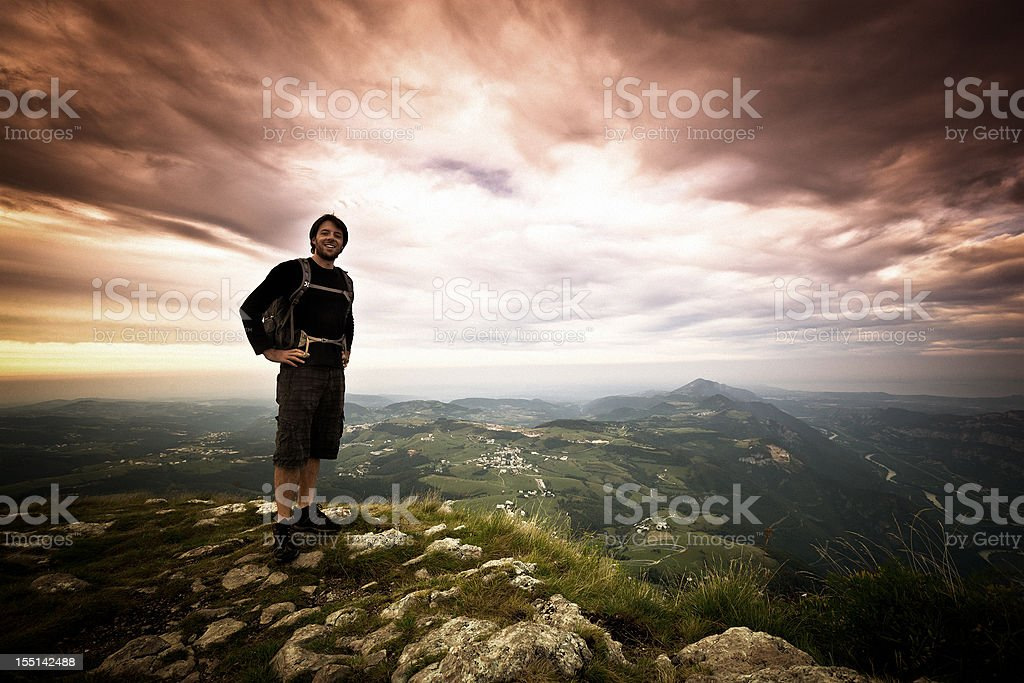 Hiker on top of the Mountain, Freedom Concept royalty-free stock photo