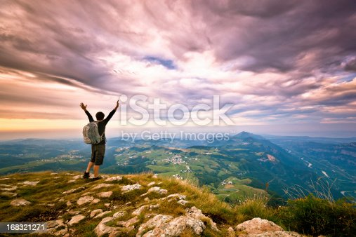 istock Hiker on top of the Mountain, Success Freedom Concept 168321271