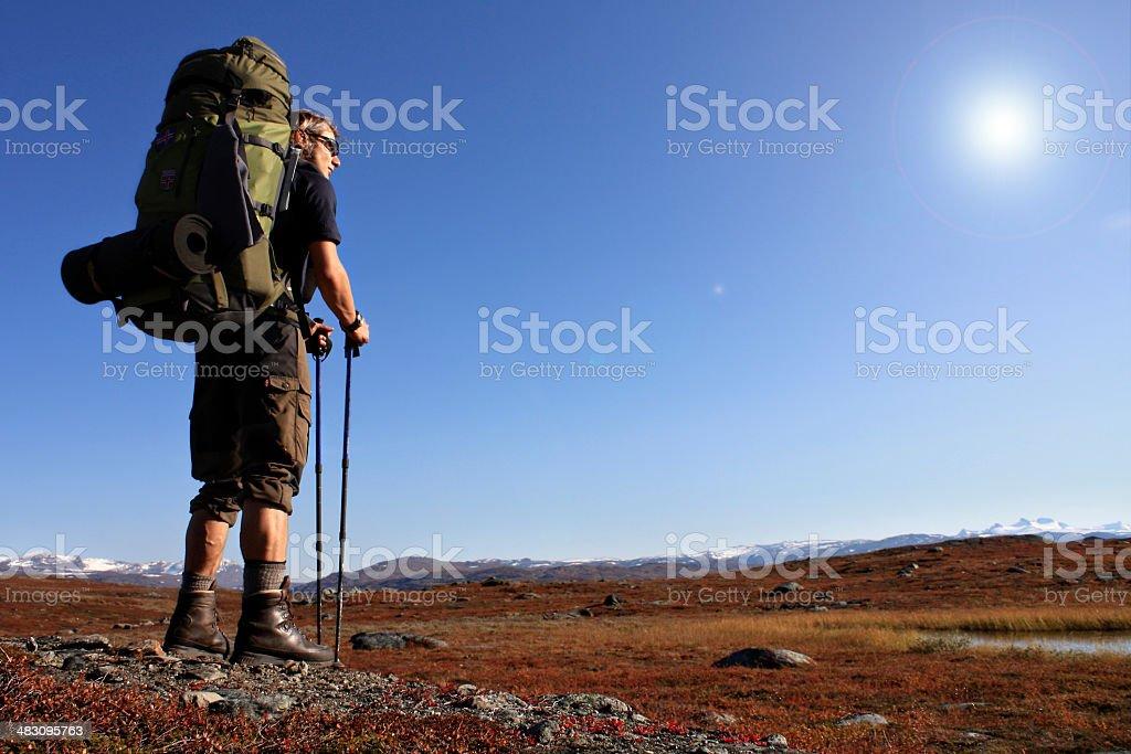 Hiker on Tour royalty-free stock photo