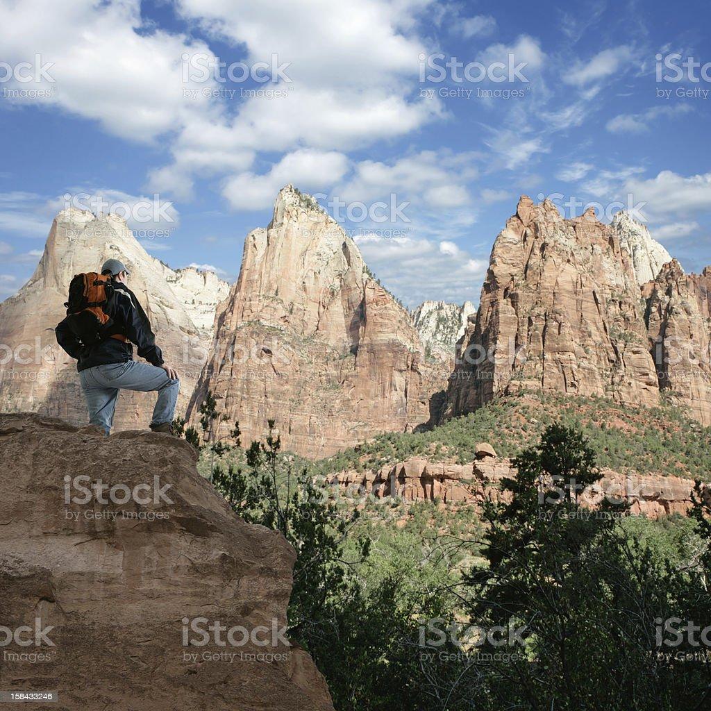 XXXL hiker overlooking canyon royalty-free stock photo