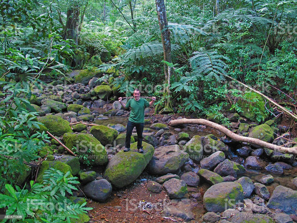 Hiker posing near the stream in the lush tropical rainforest stock photo