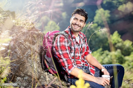 istock Hiker resting from mountain climbing 546005986