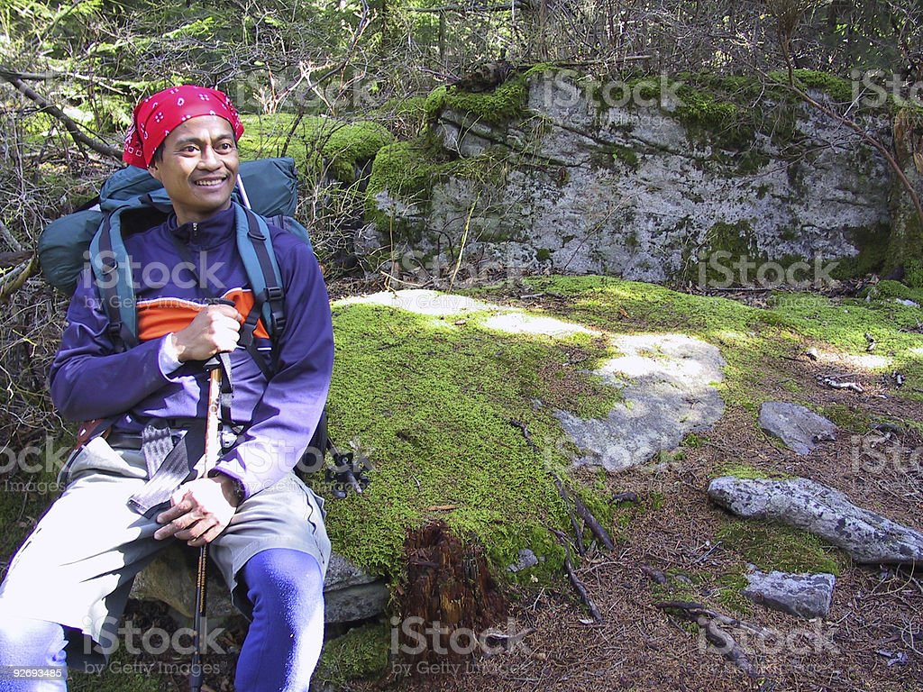 hiker resting stock photo