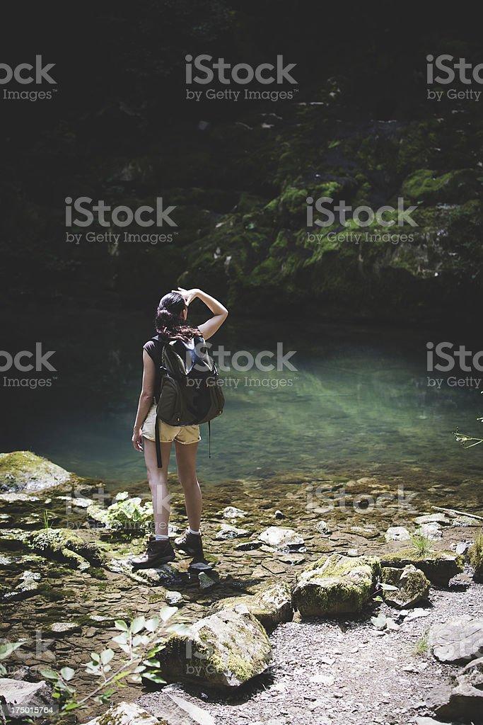 hiker seeking the right way royalty-free stock photo