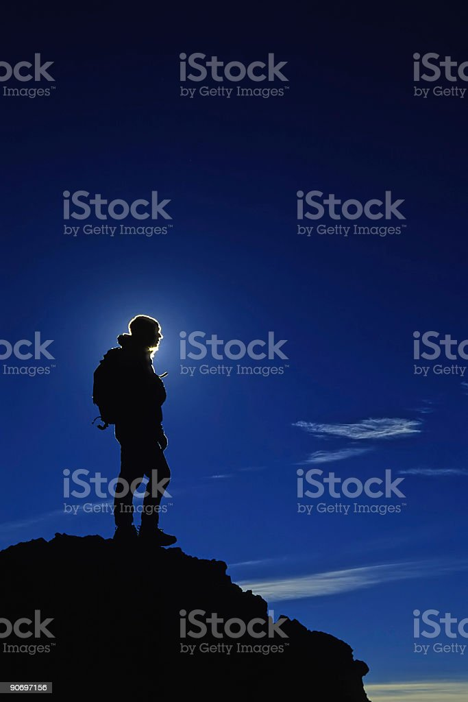 hiker silhouette and blue sky royalty-free stock photo
