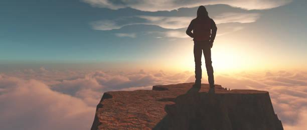 Wanderer, die bei Sonnenuntergang auf einer Bergklippe über Wolken stehen. Dies ist ein 3d-Rendering – Foto
