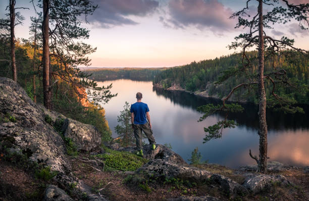 hiker standing top of the hill front of beautiful idyllic landscape - finland stock pictures, royalty-free photos & images