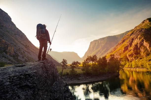 wandelaar staat op de rots - altai nature reserve stockfoto's en -beelden