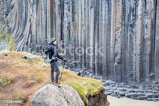 A young man stops during a hike at Studlagil Canyon in Iceland.