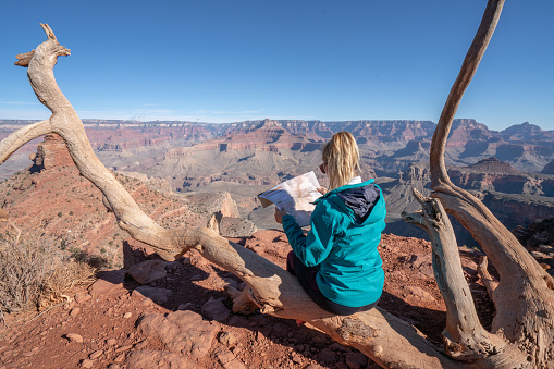 483422527 istock photo Hiker takes rest on tree to look at trail map for directions, girl hiking in Grand Canyon, USA 1147882528