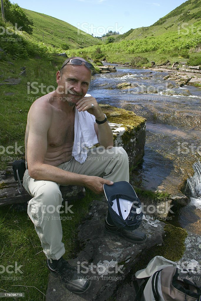 Hiker taming a rest royalty-free stock photo