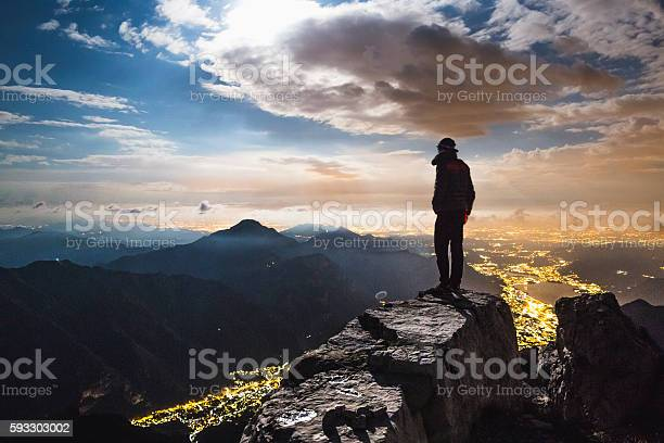 Photo of Hiker top of the mount at night