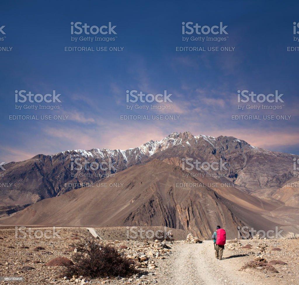 Hiker walking on the road on Annapurna Circuit trek, Nepal stock photo