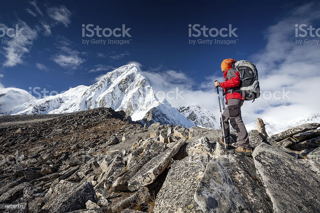 Hiker walks on train in Himalayas royalty-free stock photo