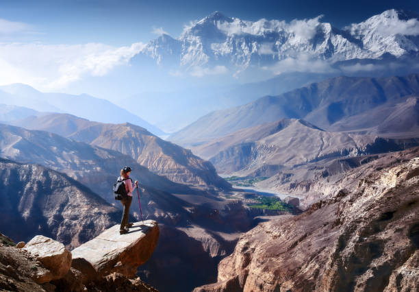 Hiker with Backpack and trekking sticks looks at the beautiful mountain canyon stock photo