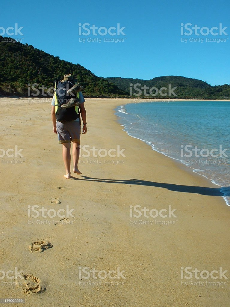 Hiker with backpack on the beach stock photo