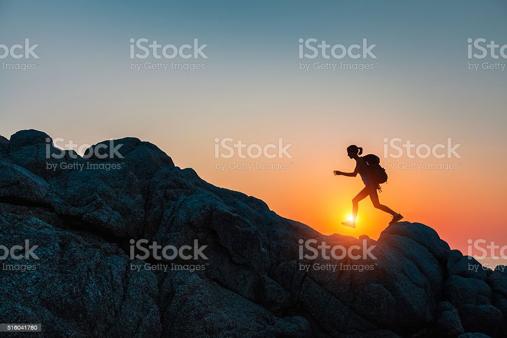 Hiker with backpack stock photo