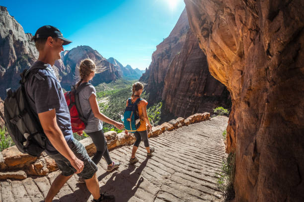 Hiker with backpacks Group of hikers friends walking down the stairs and enjoying view of Zion National Park, USA zion national park stock pictures, royalty-free photos & images