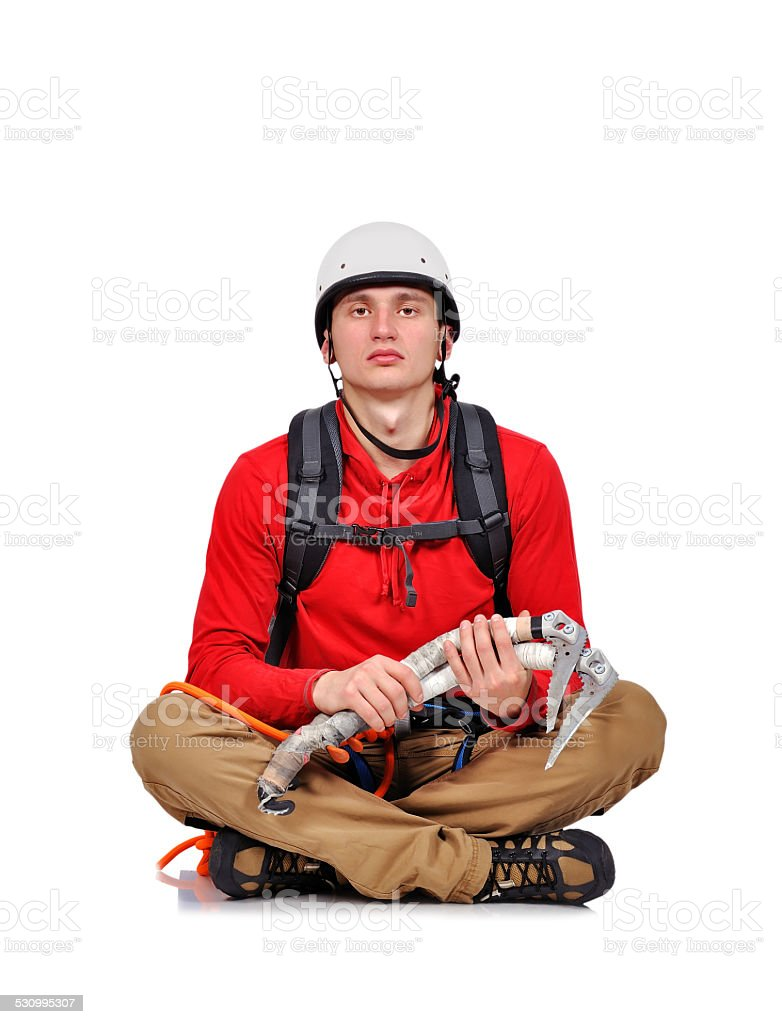 hiker with ice ax stock photo