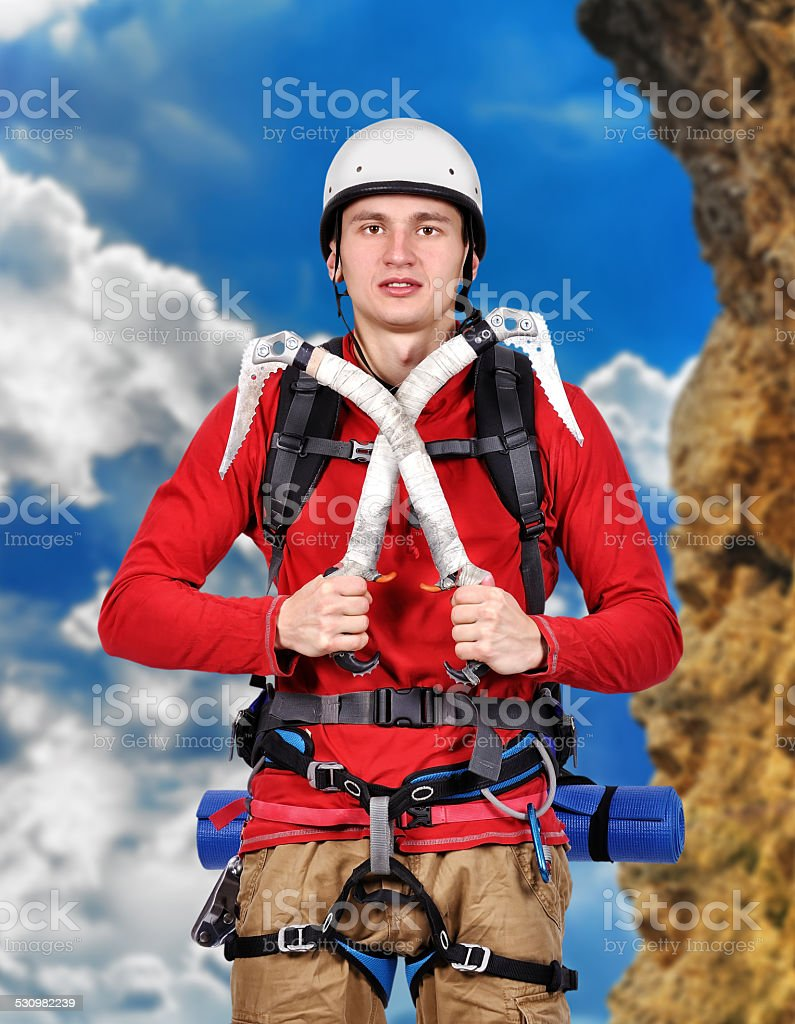 hiker with  ice axe stock photo