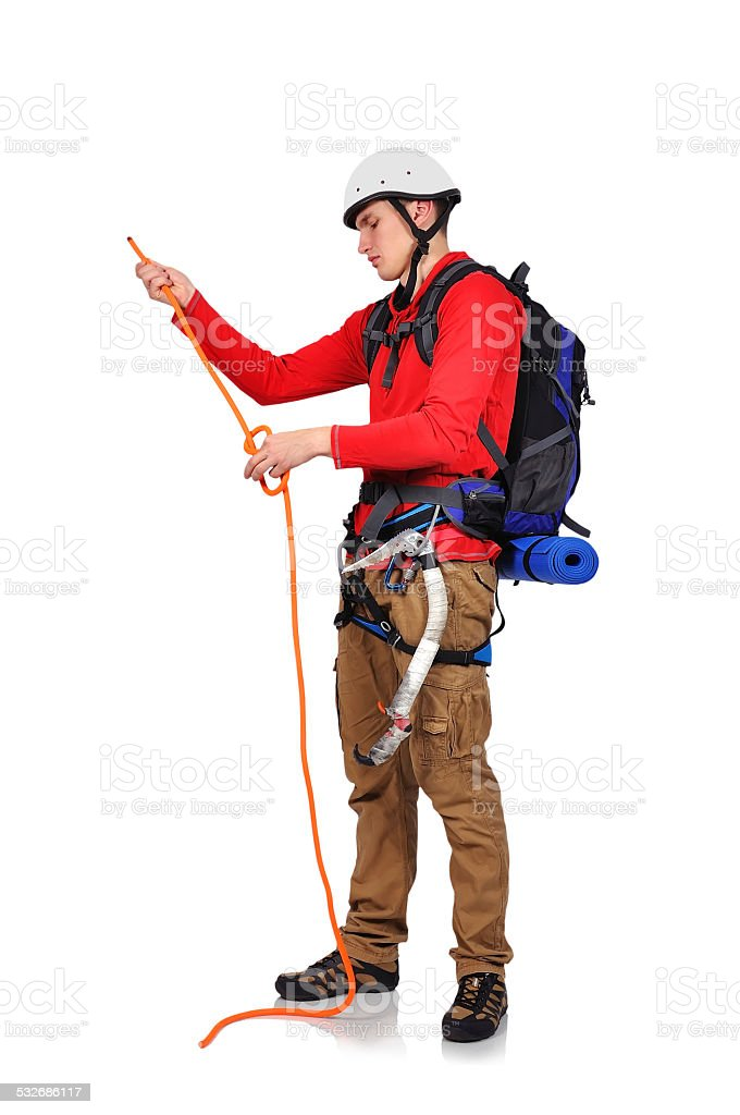 hiker with rope stock photo