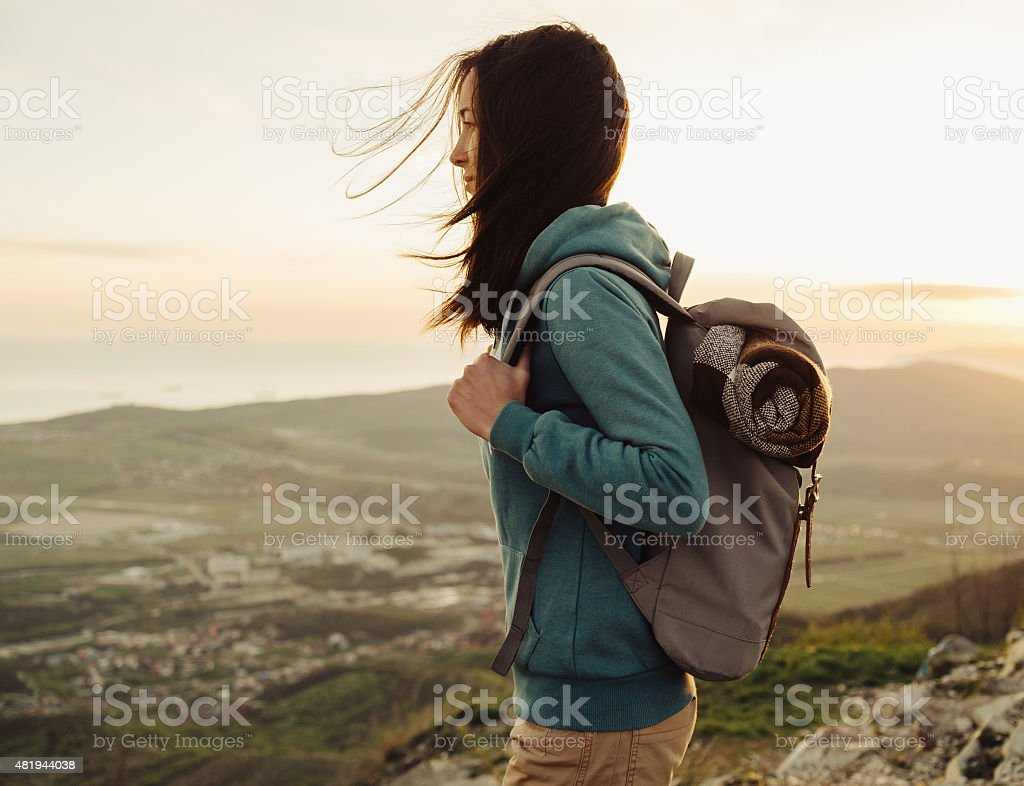 Hiker young woman stock photo