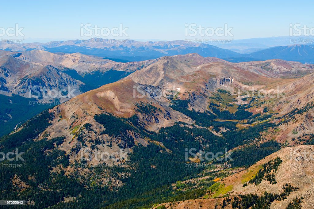 Hikers and Scenery on Mount Yale Colorado stock photo