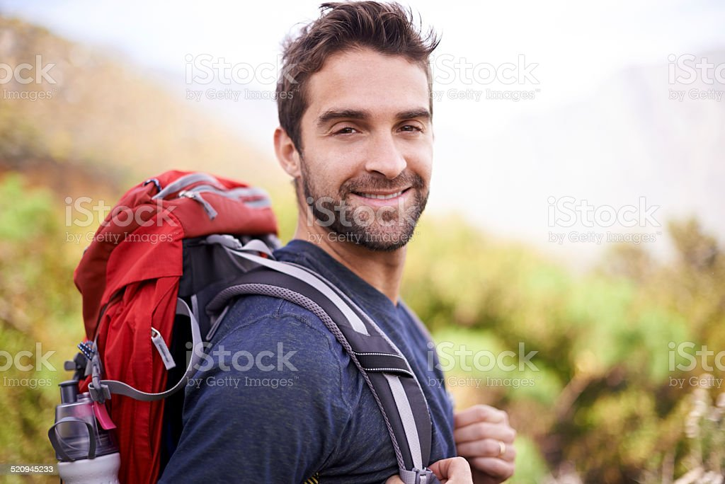 Hikers are happiest stock photo