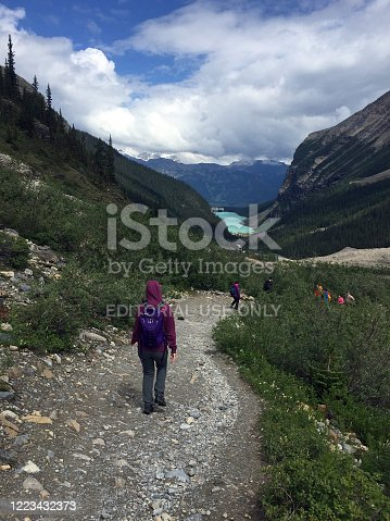 World-famous Victoria Glacier, the backdrop to Lake Louise in Banff National Park, can be viewed close-up by hiking the Plain of Six Glaciers trail to the Lake Louise Tea House. This view, near the tea house, is at about 6,800 feet elevation.