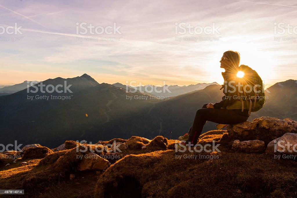 Hikers enjoy alps stock photo