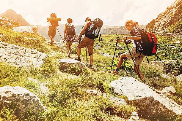 Hikers high in the mointain Group of hikers walking in line on a footpath in the mountain, with copy space nordic walking stock pictures, royalty-free photos & images
