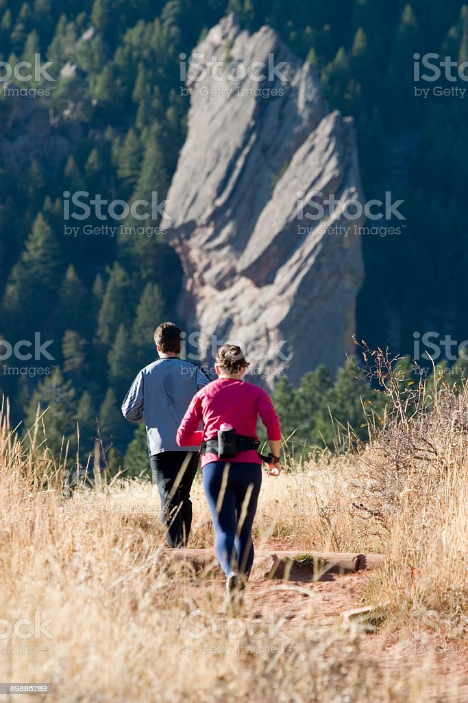 Hikers in Chautauqua Park Colorado royalty-free stock photo