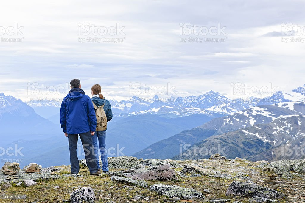 Hikers in mountains royalty-free stock photo