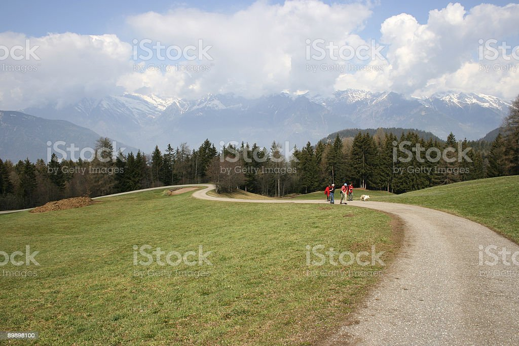 Hikers in the countryside royalty-free stock photo