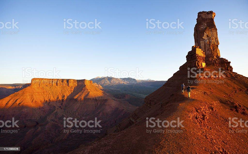 Hikers in the desert of Utah near Moab stock photo