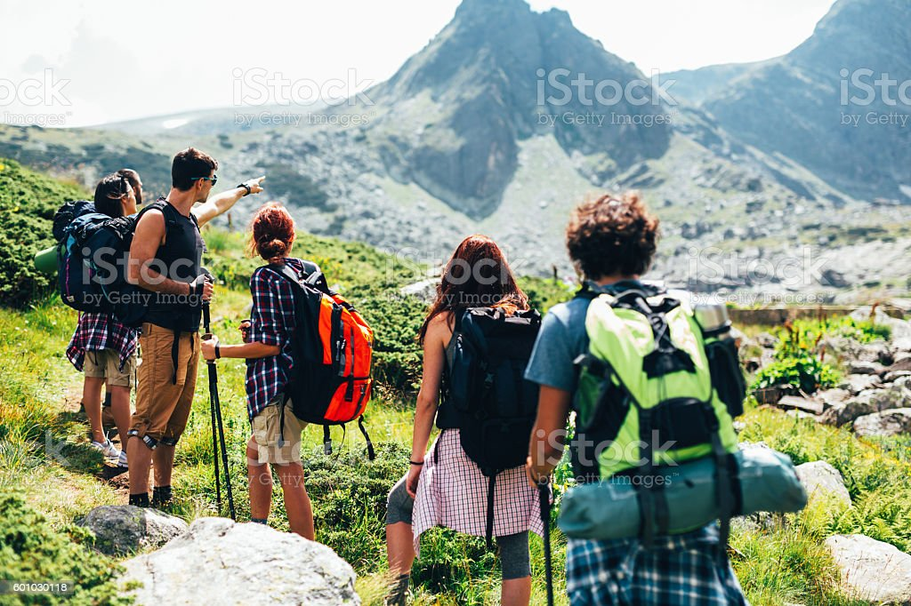 Hikers in the mountain stock photo