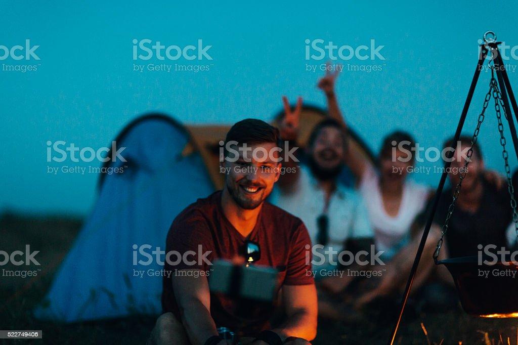 Hikers Making Selfie. stock photo