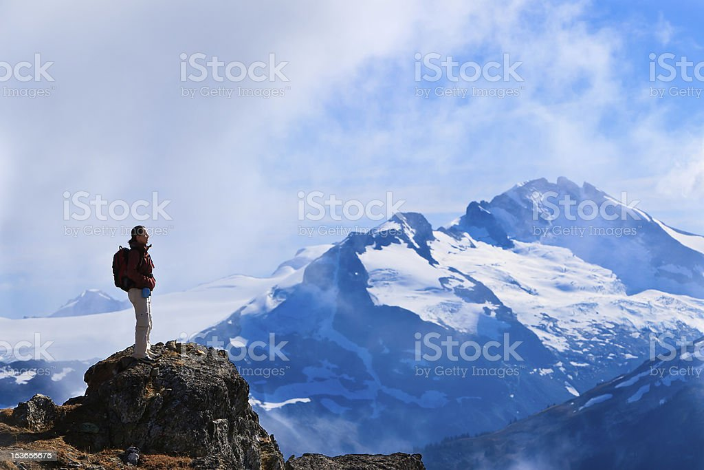 Hiker's mission accomplished royalty-free stock photo