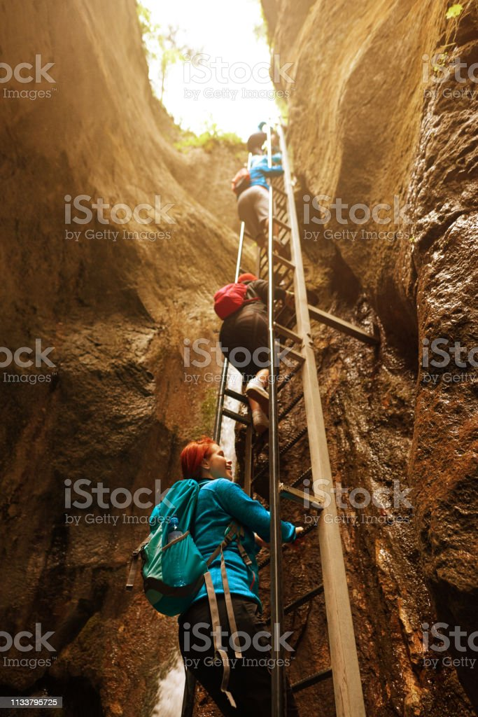 side view of hiking friends moving up on stairs in summer day. photo...