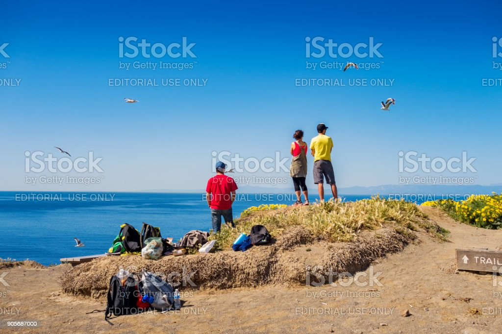 Hikers on Anacapa Island in Channel Islands National Park California stock photo