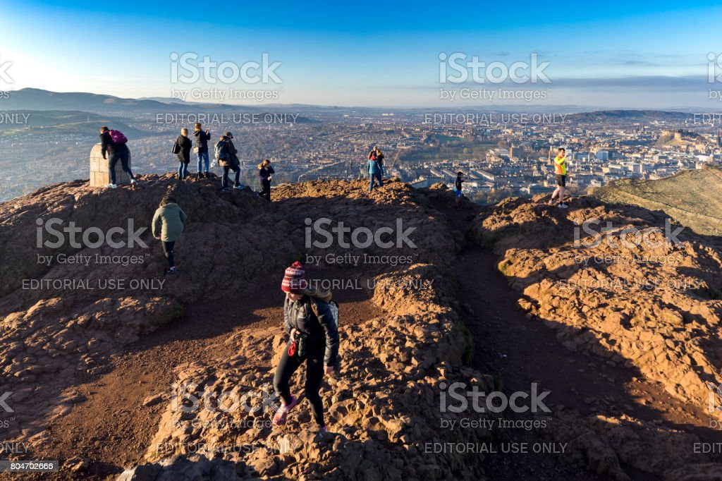 Hikers on Arthur's Seat, Edinburgh, Scotland, UK stock photo
