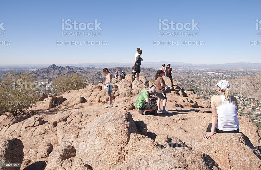 Hikers on Camelback Mountain Summit royalty-free stock photo