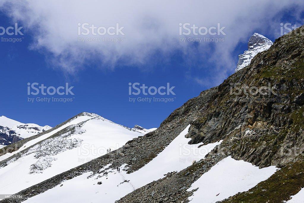 Hikers on rocky trails -XXXL royalty-free stock photo