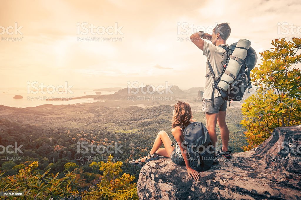 Hikers on the mountain royalty-free stock photo