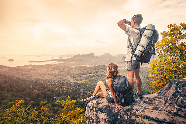 hikers on the mountain - hiking stock photos and pictures