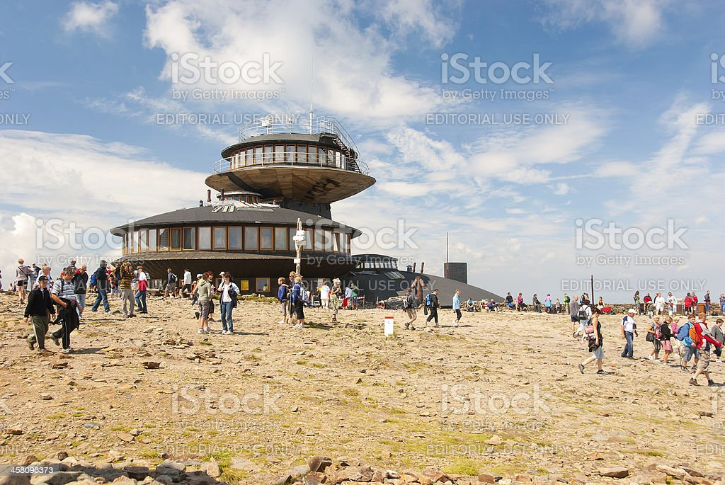 Hikers on the top of Snezka stock photo