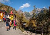 istock Hikers on trail at Great Cold Valley,  Vysoke Tatry (High Tatras), Slovakia. 1255970289